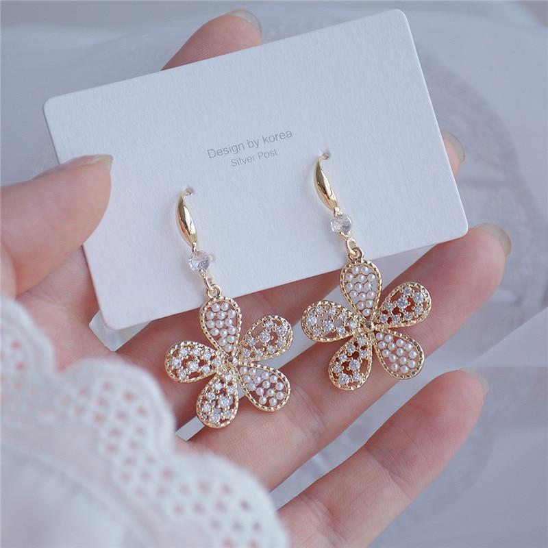 Ins Hot Sale Luxury 14K Real Gold Long Pearl Flower Temperament Stud Earrings for Women Cubic Zircon ZC