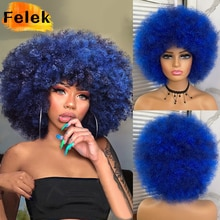 Short Hair Afro Kinky Curly Wigs With Bangs For Black Women African Synthetic Ombre Glueless Cosplay Wigs High Temperature Felek