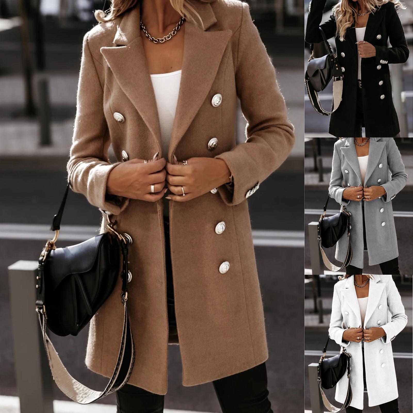 Coat Fleece Sweatshirts Cardigan Women Jacket Winter Women Lapel Trench Coat Long Sleeve Button Mid-