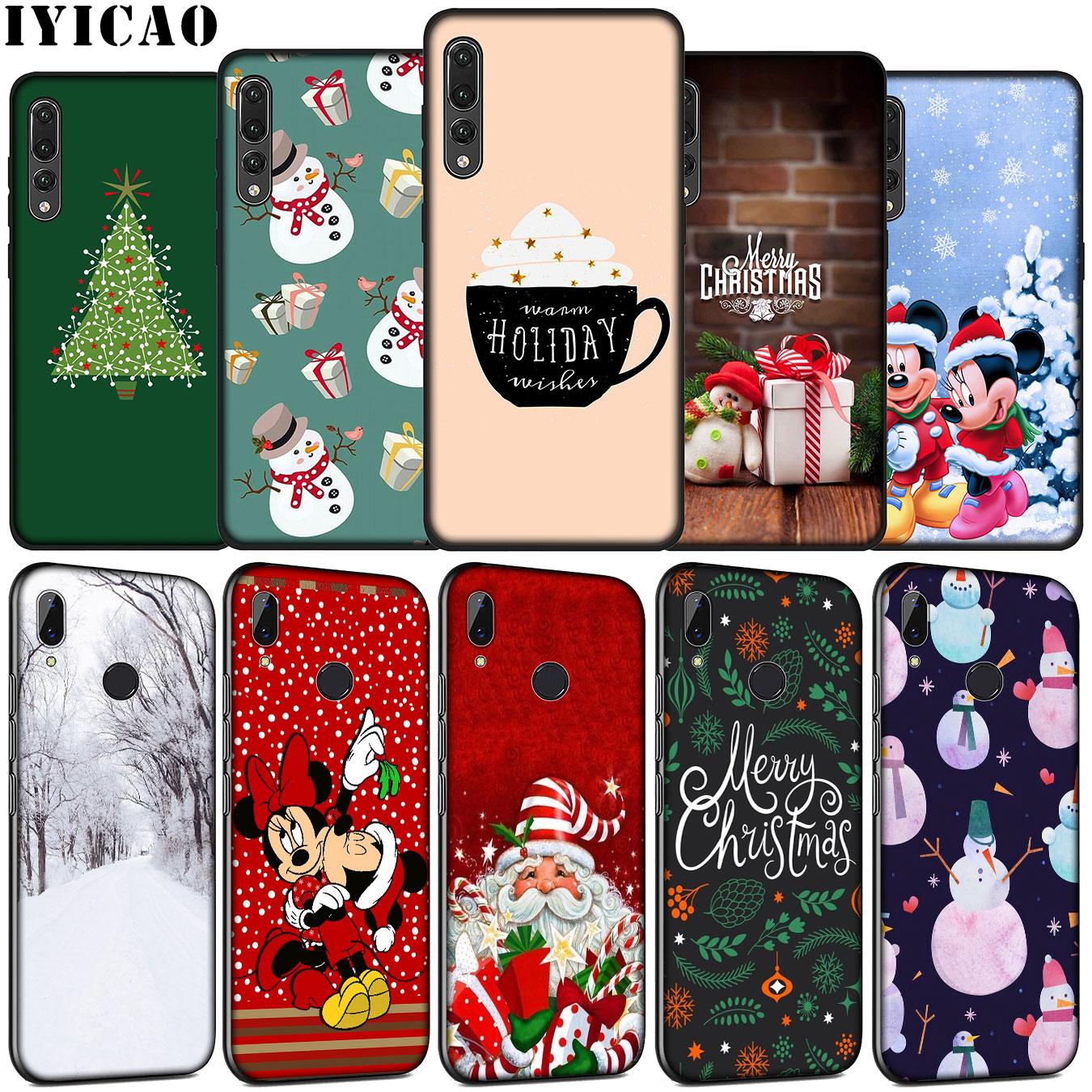 IYICAO Feliz Navidad muñeco de nieve de silicona suave funda del teléfono para Huawei P30 P20 Pro P10 P9 Lite 2017 Mini 2016 cubierta P Smart Z 2019