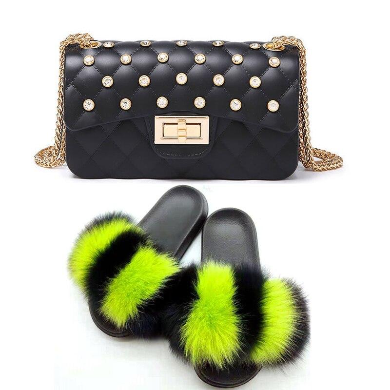 Zapatillas de piel para mujer, bolso de piel brillante con diamantes, juego de Chanclas de piel esponjosa para mujer