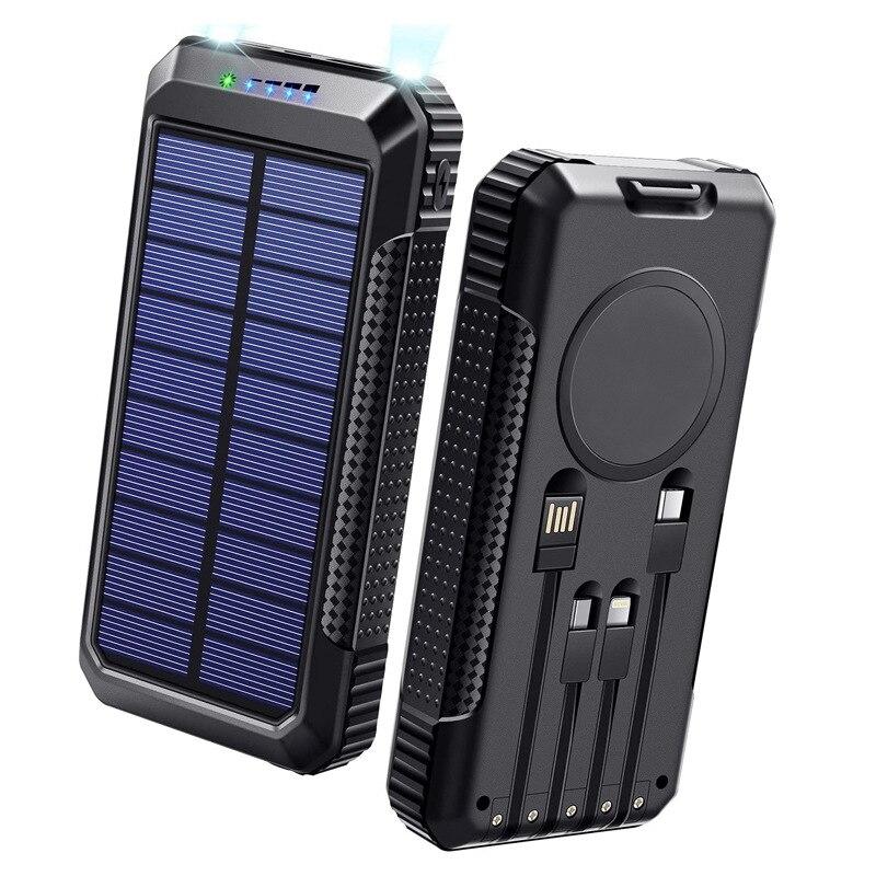 30000mAh بنك الطاقة الشمسية 15 واط تشى شاحن لاسلكي PD40W تهمة سريع الفقراء بنيت في كابل لهواوي آيفون شاومي Powerbank
