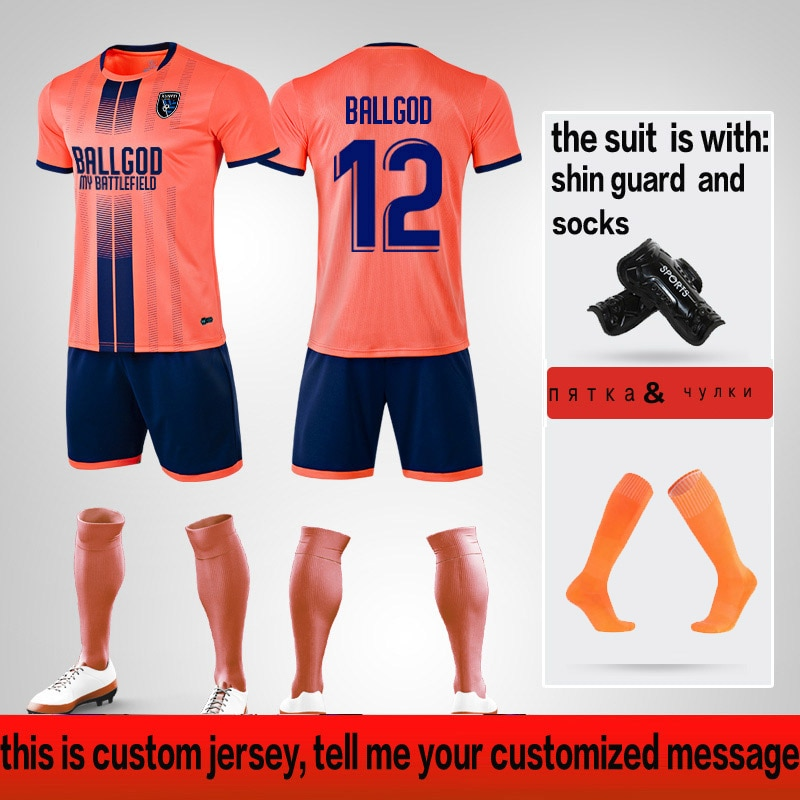 Jerseys de fútbol para niños y niñas, conjunto de Jerseys de fútbol, uniformes de fútbol, chándal de fútbol con personalizado y calcetines 2