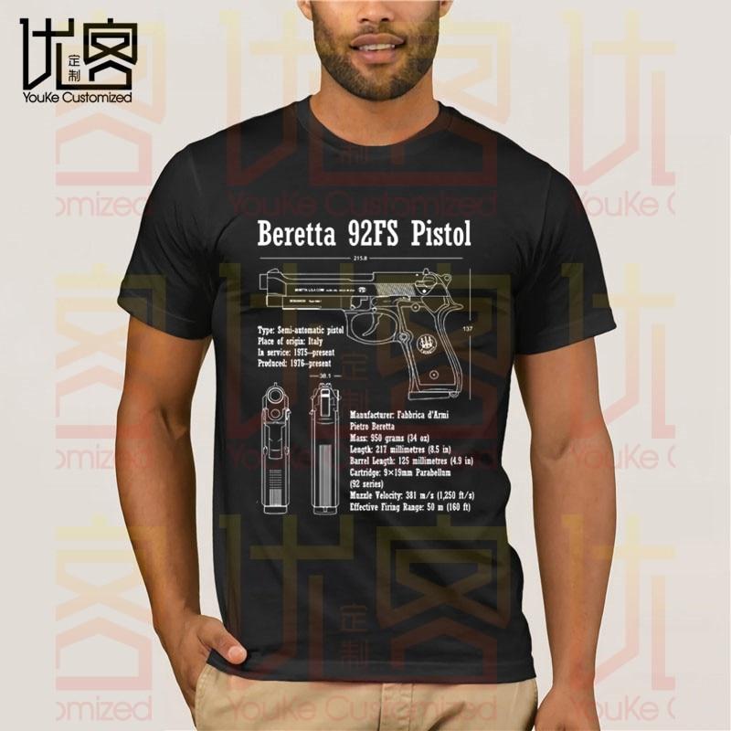Beretta 92fs pistola pistola blueprint patente arma le pistolet camiseta masculina 100% algodão manga curta topos t