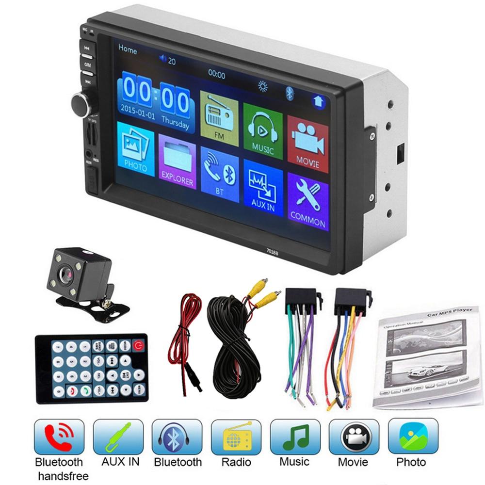 Reproductor de Audio Multimedia 7018B 2 Din para coche, Radio Estéreo, pantalla táctil, reproductor de MP5 HD, compatible con cámara Bluetooth, reproductor Multimedia para coche