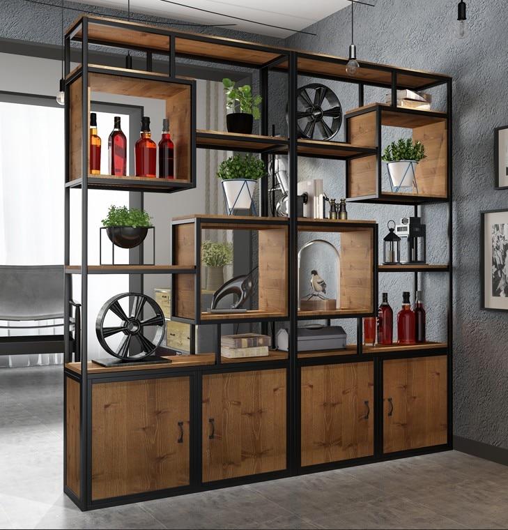 الحديد العتيقة الصناعية الرياح الجرف مكتب الشرفة التقسيم خزانة الكتب خزانة loft إطار عرض الشاشة
