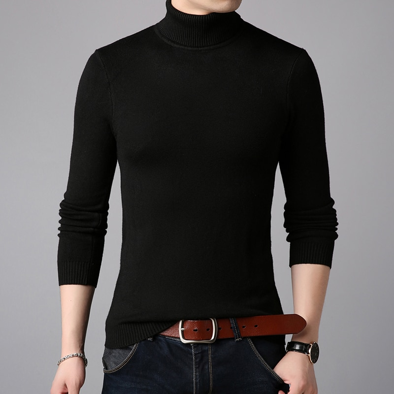 2020 Winter Thick Warm Cashmere Sweater Men Turtleneck Mens Sweaters Slim Fit Pullover Men Classic Wool Knitwear Pull Homme недорого