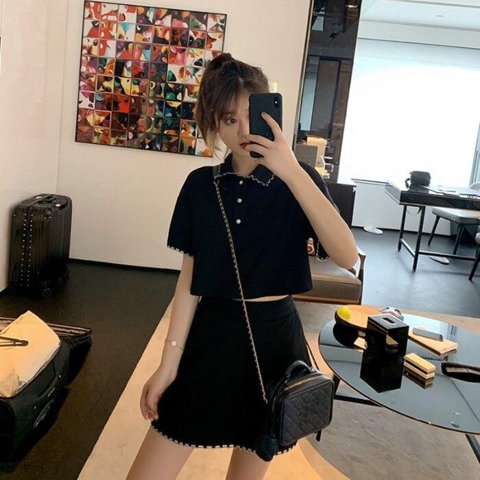 Vestido elegante Delgado, traje de estilo Hepburn, traje de dos piezas de altura corta de estilo coreano de verano para mujer de estilo joven