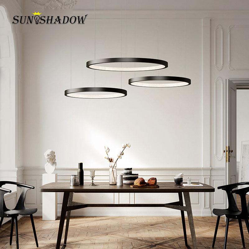 Lámpara colgante de techo circular Led, lámpara colgante moderna, iluminación en blanco y negro, accesorios de lámpara de araña para interiores, 20 40 60 80CM