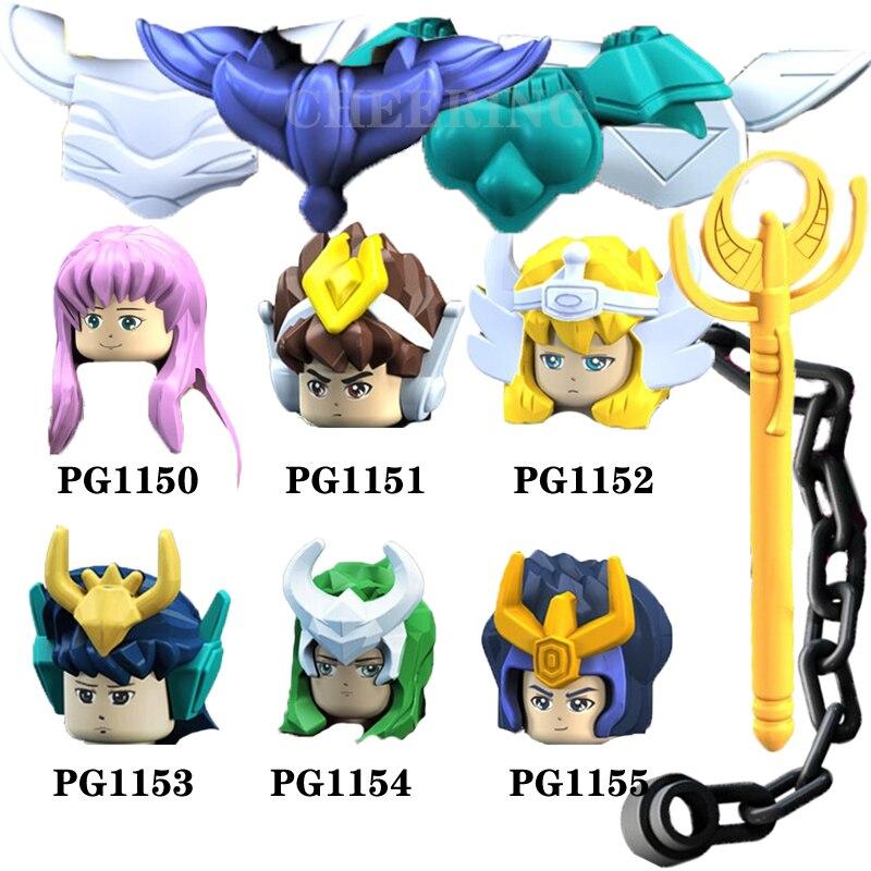 6 pçs um conjunto de vendas por atacado blocos de construção cavaleiros do zodíaco saint seiya athena shiryu glaciar brinquedos para crianças pg8128