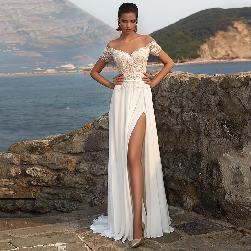Review Luxury A-Line Chiffon Wedding Dresses Off the Shoulder Short Sleeve Lace Applique Charming Gowns Sexy High Split