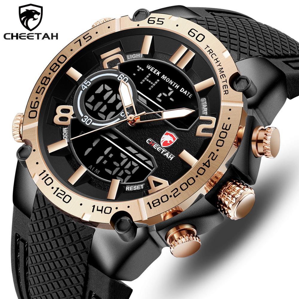 Marca de luxo superior cheetah relógio masculino moda esportes relógio de pulso digital quartzo analógico relógio à prova dwaterproof água relogio masculino