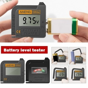 Battery Tester Battery Capacity Checker For AA  9V 1.5V Button Cell Battery Test The Condition Of Your Battery Black