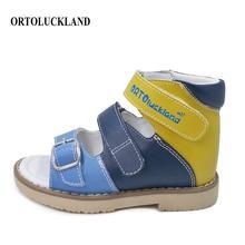 Ortoluckland-chaussures pour enfants   Nouvelles sandales en cuir véritable pour tout-petits, chaussures orthopédiques de soutien darc pour enfants et garçons, Design avec sangle à boucle