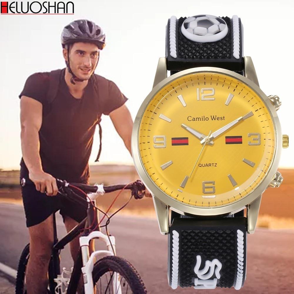 Relojes de marca superior para hombre, reloj de lujo amarillo, cuarzo de cuero con Dial, reloj de transporte, números arábigos tejidos a mano