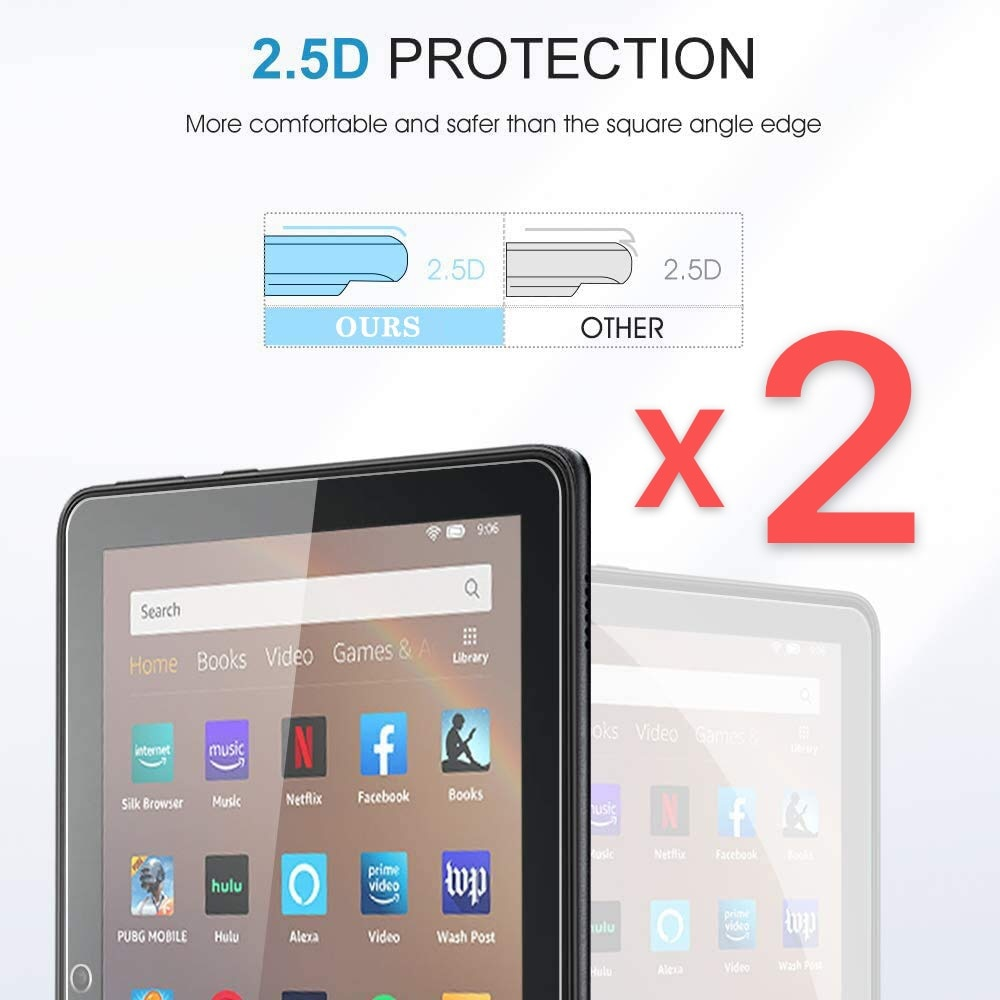 2Pcs Tablet Tempered Glass Screen Protector Cover for Amazon Fire HD 8 10th Gen 2020 Full Coverage of HD Eye Protection Film