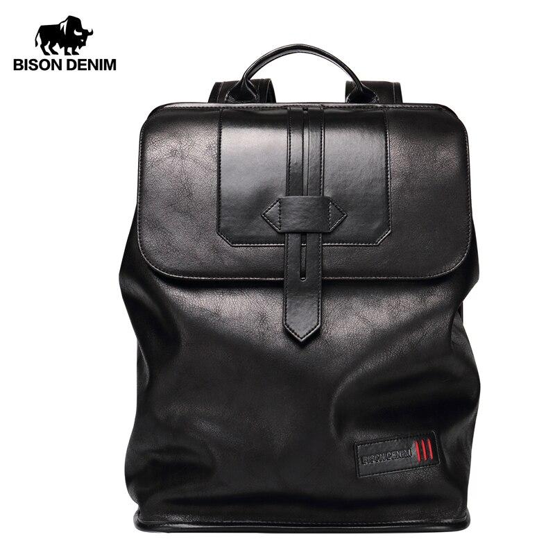 Мужской рюкзак Bison Denim, Большой Вместительный кожаный водонепроницаемый рюкзак, Повседневная дорожная сумка для ноутбука, школьная сумка на...