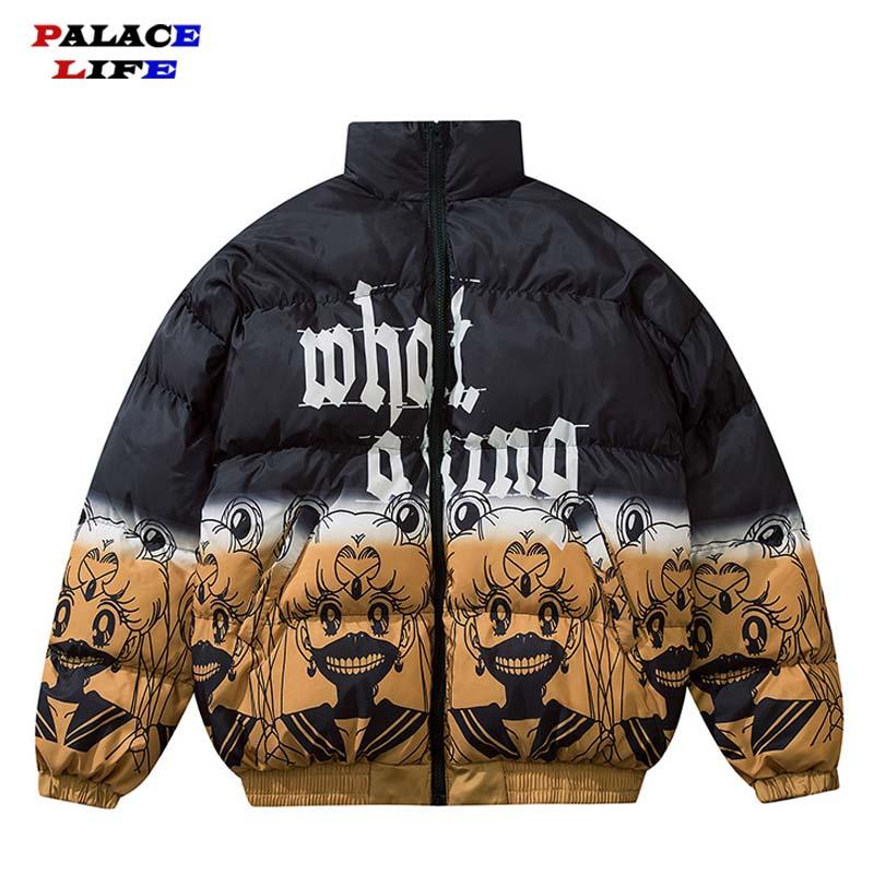 Men Parka Down Jacket Japanese Cartoon Sailor Moon Print Men Hip Hop Streetwear Winter Thick Warm Jackets Coats Men Clothes