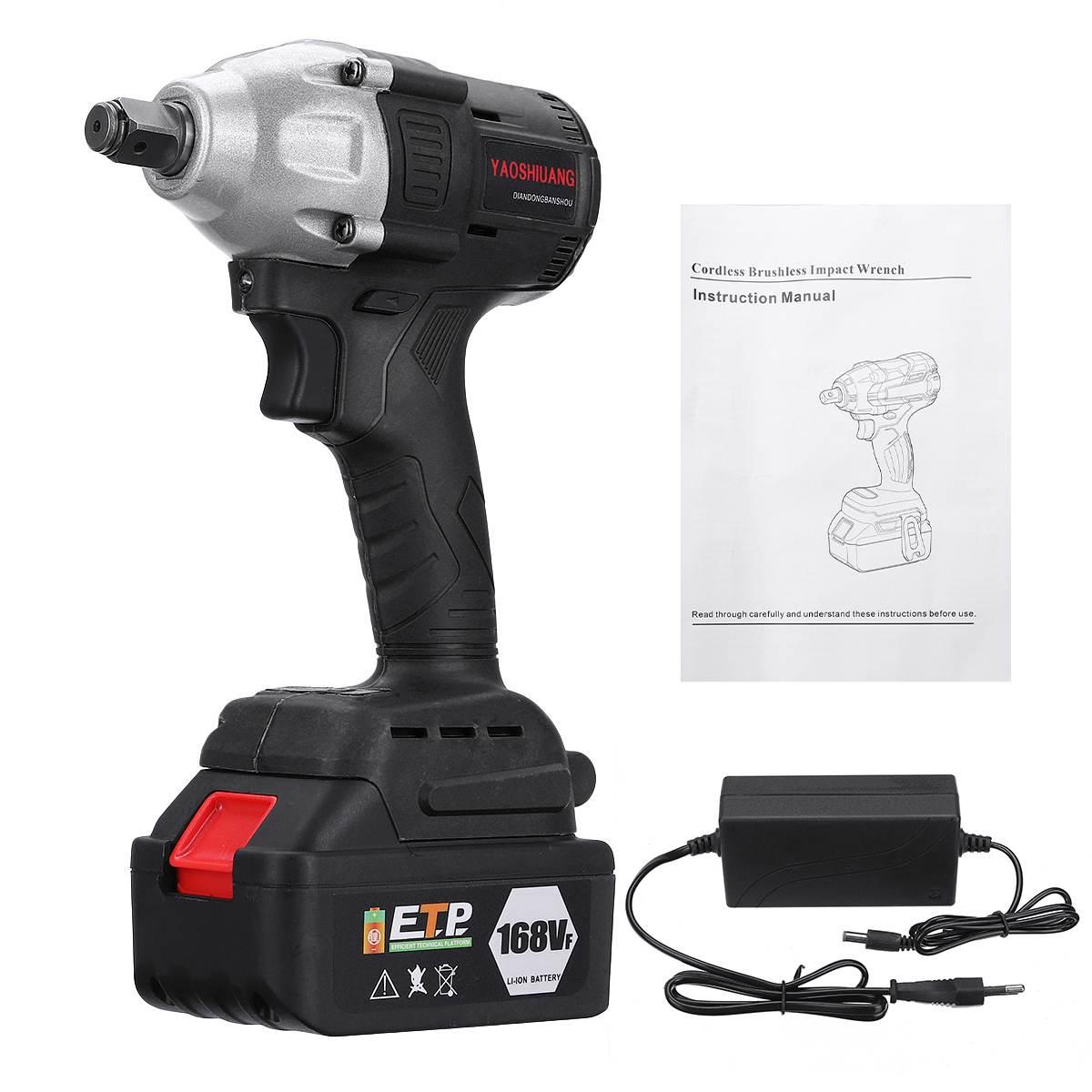Doersupp 630NM 16800mAh sin escobillas llave eléctrica de impacto llave eléctrica 168VF 1/2 110-240 V con herramienta eléctrica de batería