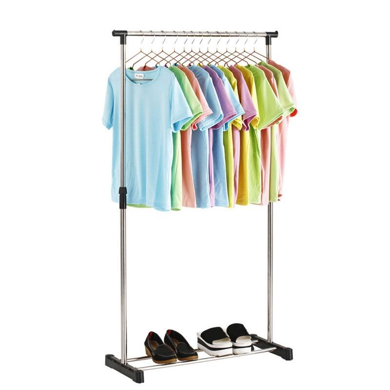 Plegable Simple colgador de ropa muebles montado Rack soporte ajustable armario de ropa de dormitorio muebles de sala