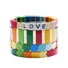 Regenbogen armbinden myuki charme armband hämatit fliesen braclet set boho schmuck wrap strang armband armband freundschaft geschenk