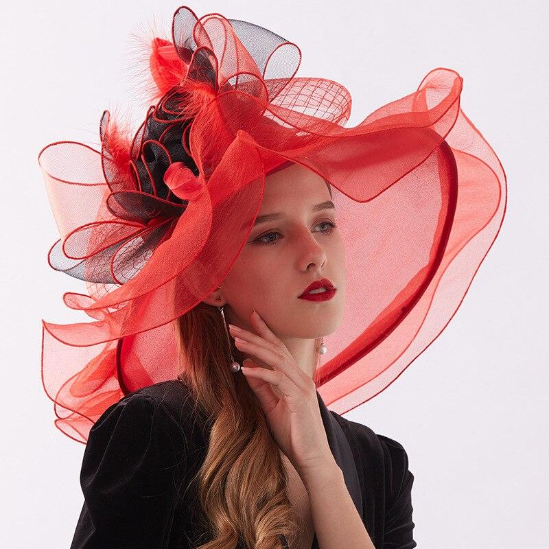 الأحمر مساء القبعات للنساء أنيق الحدث زهرة القبعات الأورجانزا قطعتين فاتحة دي ماريج الزفاف غطاء الرأس اكسسوارات