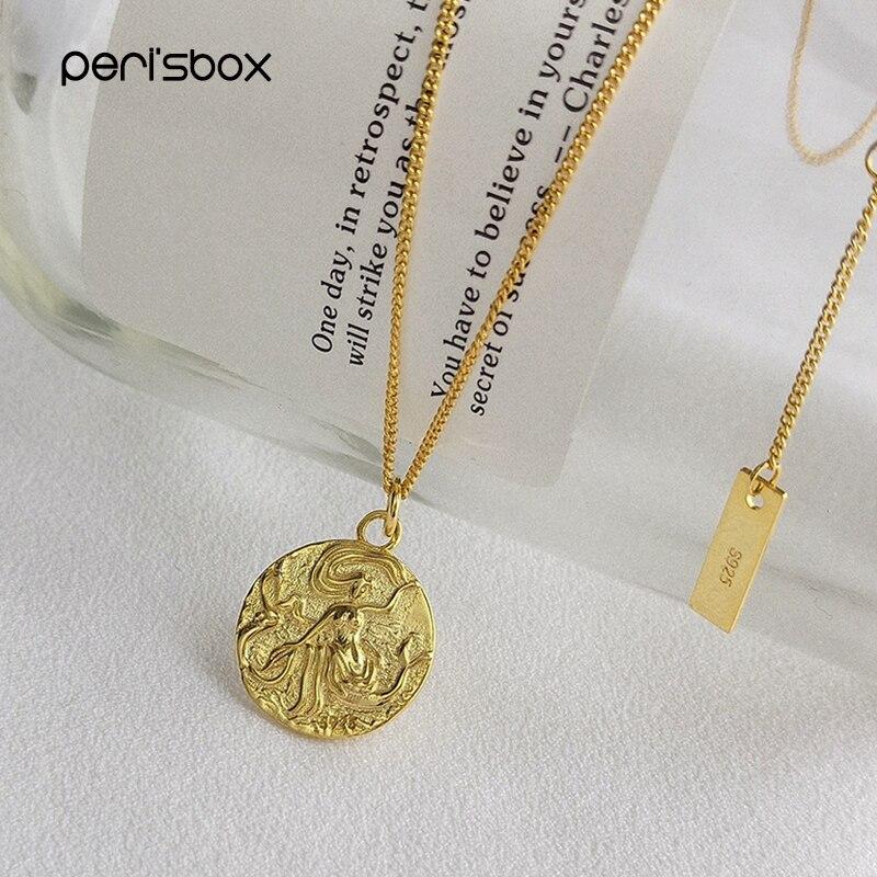 Perisbox or disque Portrait médaillon collier 925 argent Sterling pièce pendentif colliers camée texturé colliers pour les femmes