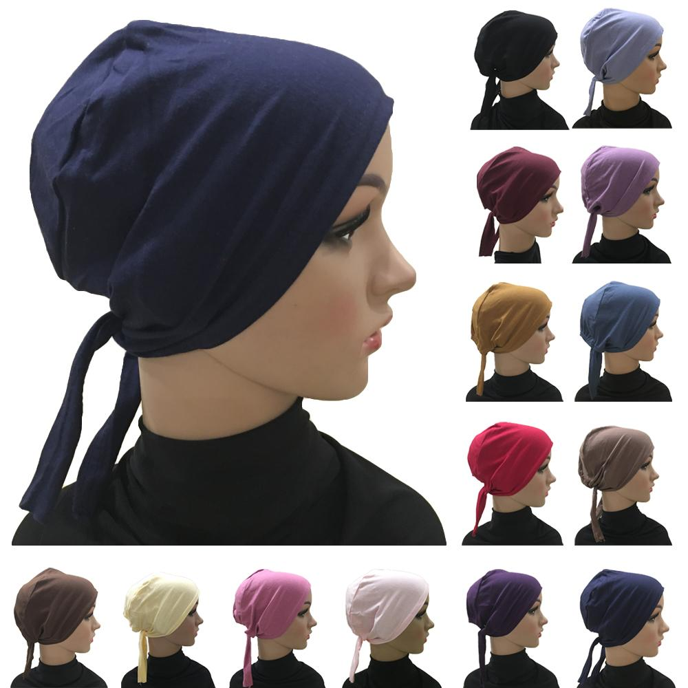 Chapéu de algodão de cor sólida sob lenço hijab interno feminino muçulmano bandana ninja gorro hijabs bonnet árabe bonnet chapéus bandagem