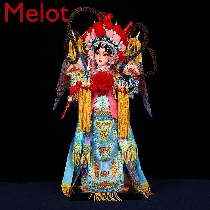 بكين تذكارية 14 بوصة الحرير رجل دمية الديكور النمط الصيني مميزة هدية صغيرة بكين أوبرا ماكياج الوجه جمع