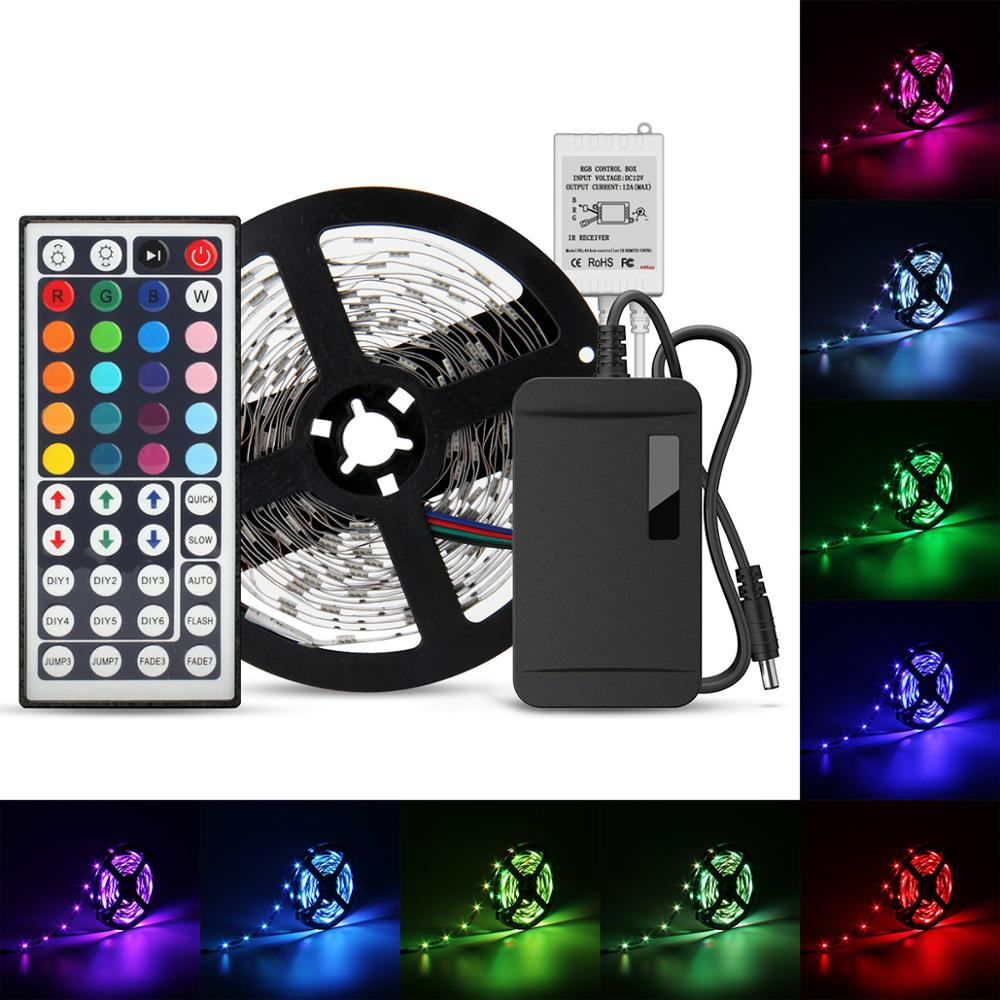 20 Colors LED Strips Lights Kit 5M SMD5050 150LEDs Flexible RGB LED Strips with 44 Keys IR Remote Controller 24W Power Adapter