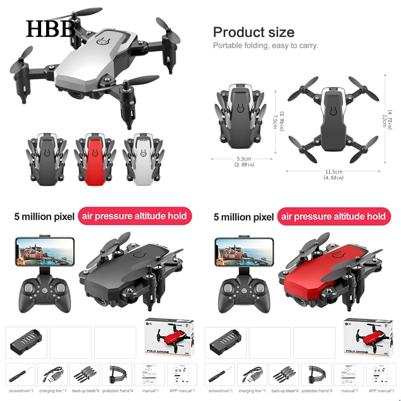 Mini Drone LF606 con cámara 4K HD, Drones plegables con retorno de una tecla, cuadricóptero FPV, helicóptero cuadricóptero Follow Me RC, juguetes para chico cuadricóptero