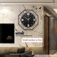 35/45/55/60cm Reloj de pared de cuarzo de polígono Adhesivo de pared negro blanco amarillo nórdico moderno reloj de pared sala de estar cocina decoración para el hogar