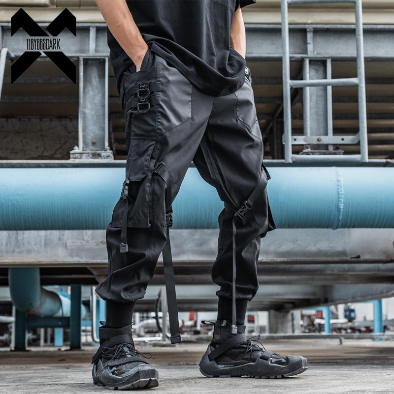 11 BYBB'S الظلام التكتيكية وظيفية البضائع السراويل ركض الرجال السراويل الهيب هوب الشارع الشهير شرائط متعددة جيب السراويل السوداء WB189