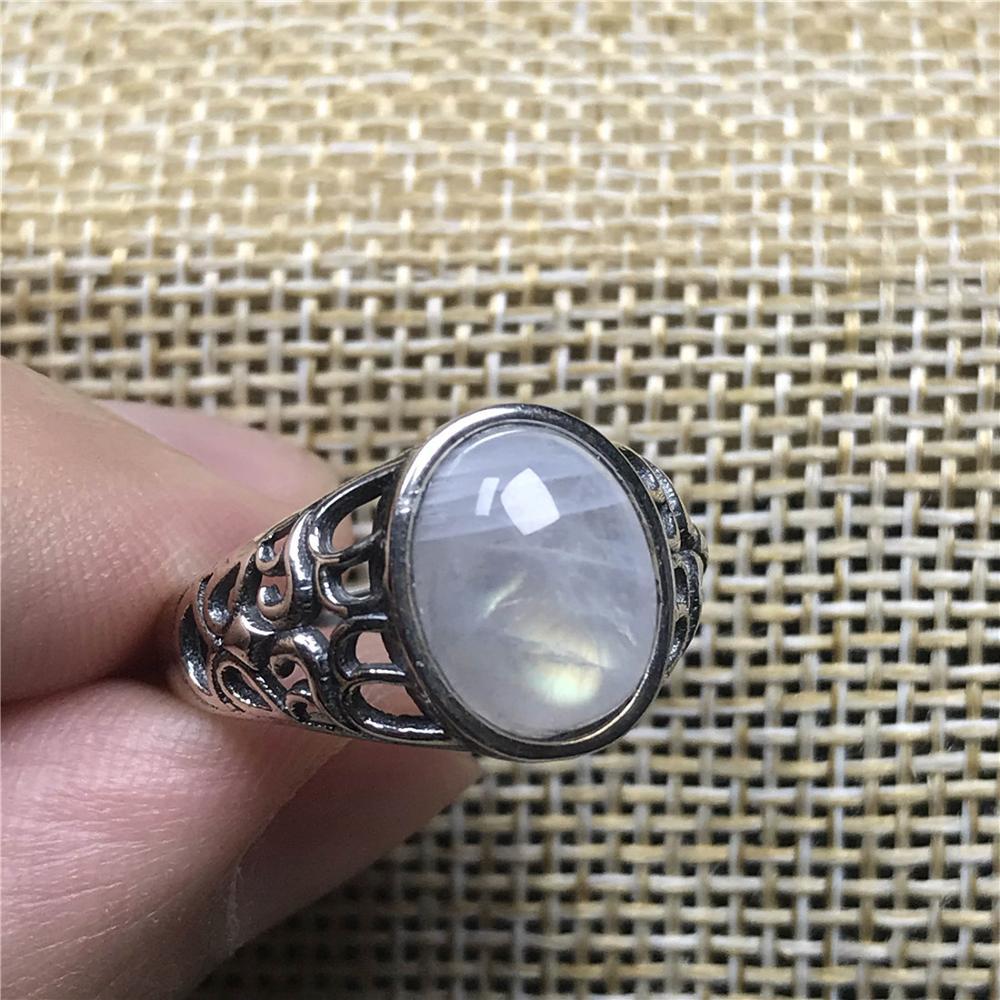 12x9mm luz azul natural piedra lunar anillo para mujer hombre cristal 925 Plata regalo cuentas ovaladas piedras preciosas anillo ajustable joyería AAAAA