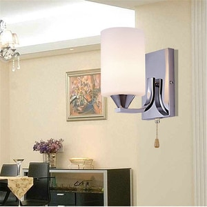 Simple Wall Lamp LED Indoor Lighting White Glass Lampshade Chain Switch Modern Sitting Room Europe Bedroom Shop Light Fixture