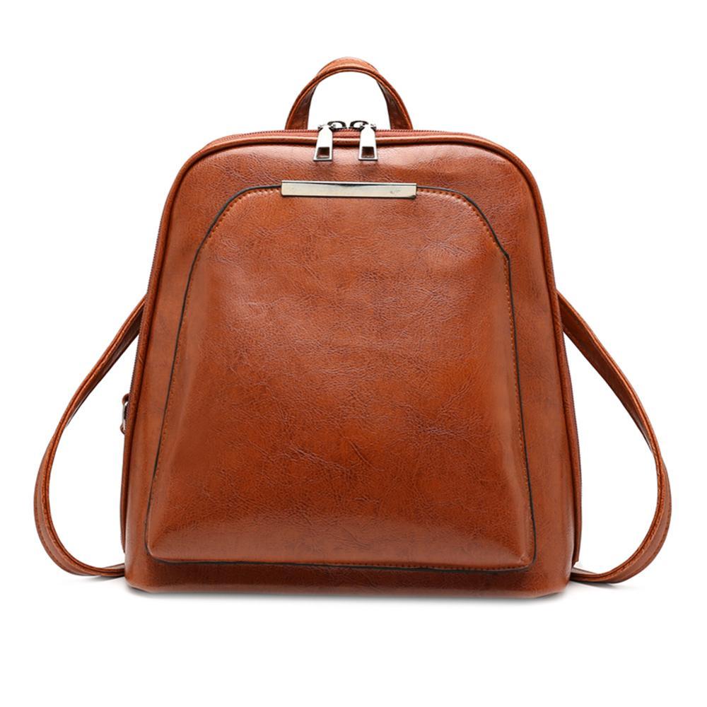 Couro de cera de óleo do vintage mochila de viagem feminina mochila casual ombro escola bagpack para adolescentes meninas do sexo feminino volta pacote mochila