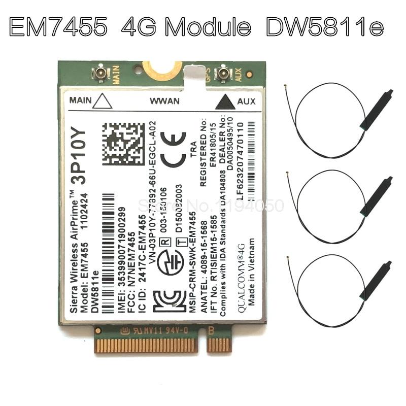 Wireless EM7455 LTE 4G NGFF Module DW5811E 3P10Y 300 M para E7270 E7470 E7370 E5570 Sem Fio FDD/TDD LTE 4G Cat6 Gobi6000 + ANTEN