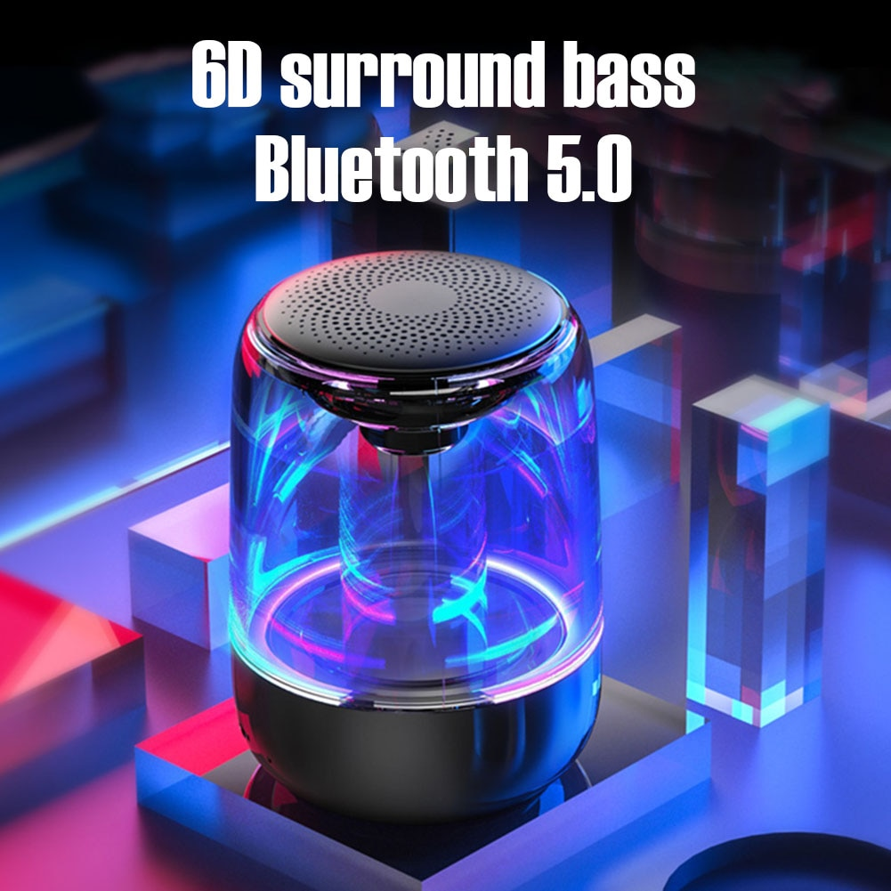 C7 Transparent crystal Bluetooth Speaker Colorful Atmosphere Light Portable Music Audio Stereo Sound