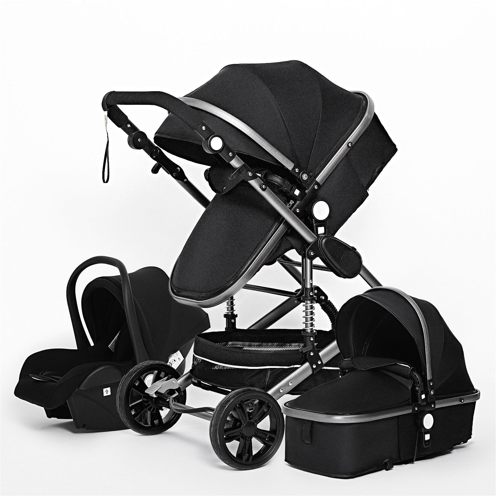 Baby Stroller 3 in 1 Luxurious Portable Travel Baby Carriage Folding Prams Aluminum Frame High Landscape Stroller Newborn Cart enlarge