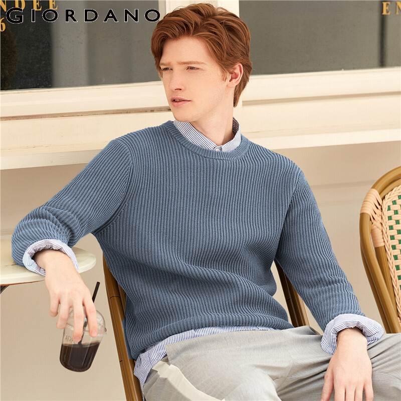 Giordano suéteres de Hombre cuello redondo de manga larga suéteres de punto 7 agujas de punto de Color sólido cálido ajuste Sueter Hombre 01059868