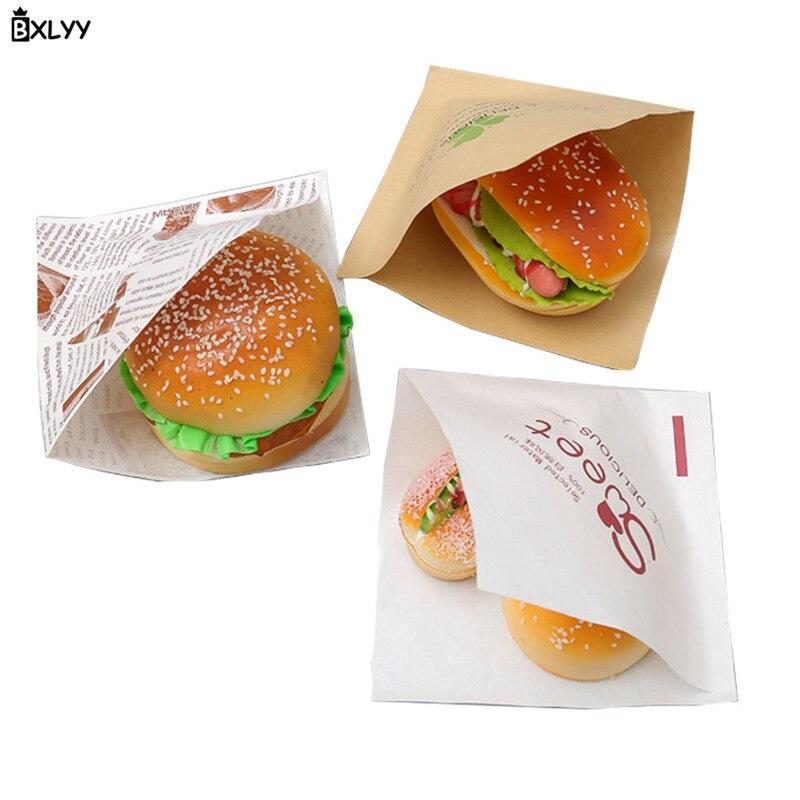 BXLYY 50pc pan de grado alimenticio bolsa de papel a prueba de grasa Donut bolsa de papel Kraft herramientas para hornear accesorios de cocina boda de Navidad. 75z