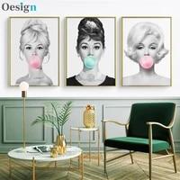 audrey canvas for home decor hepburn bubble wall art posters gum brigitte bardot marilyn monroe prints home decor