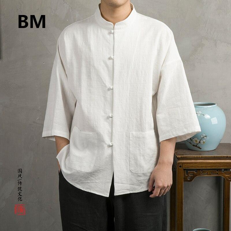 2020 verano estilo chino de algodón de lino 3/4 manga camisa hombres ropa Retro Hanfu suelta Tops hebilla Stand Collar Tang traje masculino