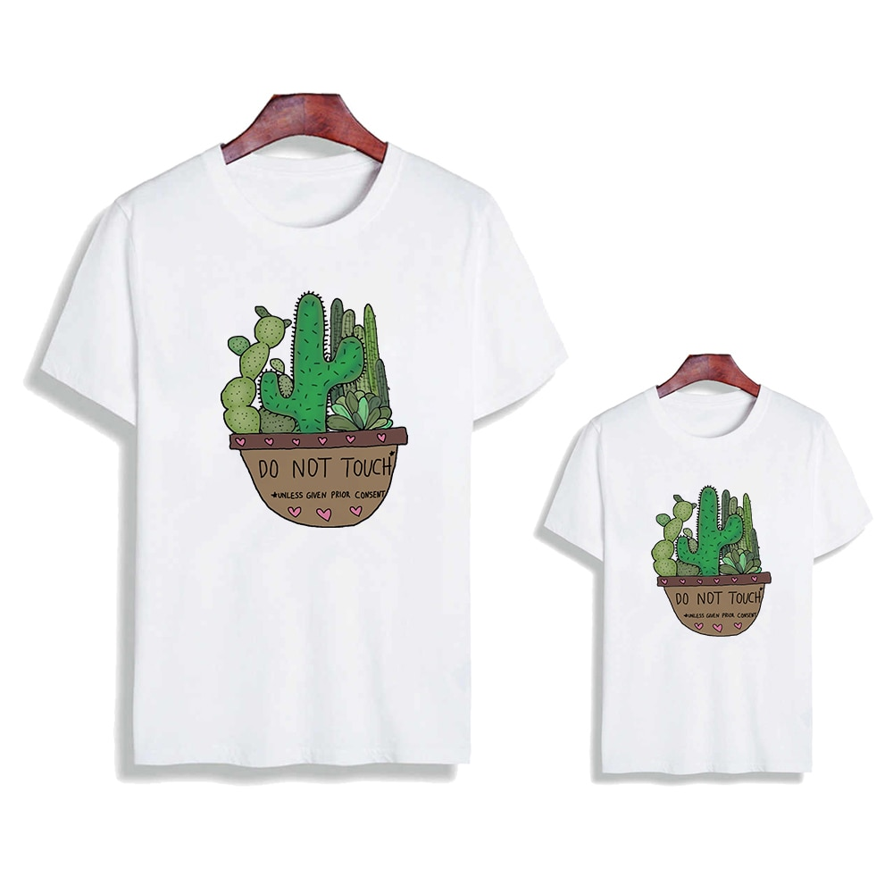Купить с кэшбэком 2021 New Women Kids T-shirt  Family Look Tops Cactus And Hedgehog Printed Eager Top Funny Hug Oversize Ladies Spring Clothing