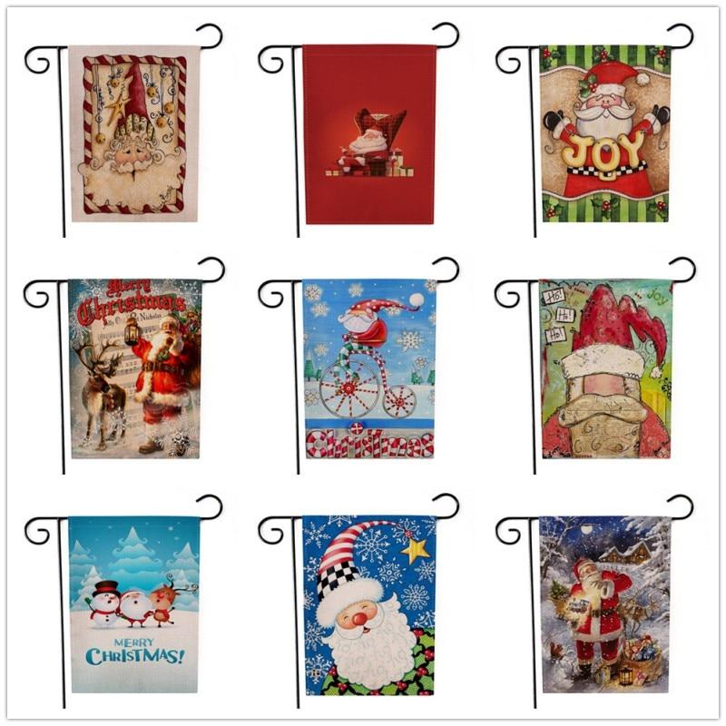 Banderas de pared de Navidad decoración con banderas jardín de casa bandera Santa Claus ambos lados impreso decoración para fiesta de Navidad g