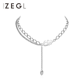 Zengliu Designer Hot Pot Series Flame Necklace Women's Special-Interest Design Sweater Clavicle Chain 2021new