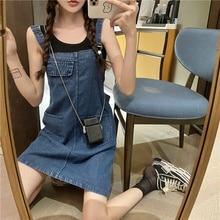 Summer Korean Style 2021 New Cute Slimming Youthful-Looking Small Popular Denim Brace Dress for Fema