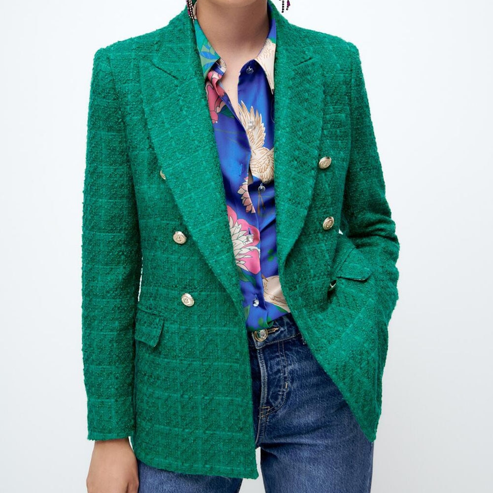 DiYiG امرأة أوائل الخريف جديد المرأة الملابس الكلاسيكية الأحمر الأخضر الملمس مزدوجة الصدر فضفاض رداء غير رسمية سترة ZA