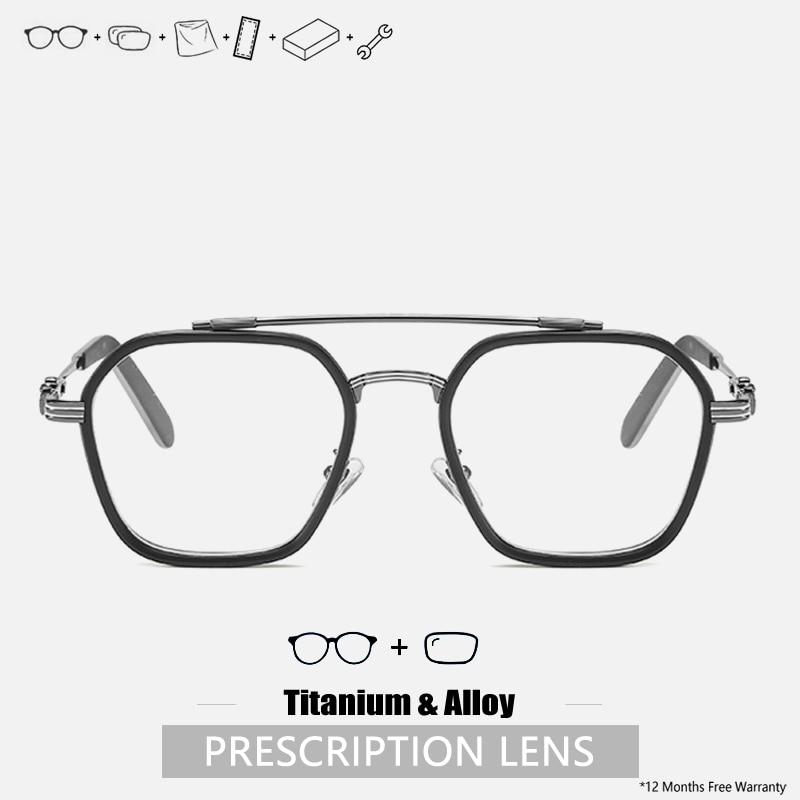 Prescription Eyeglasses Custom Mens Prescription Glasses Designer Oversized Titanium Glasses Frame A