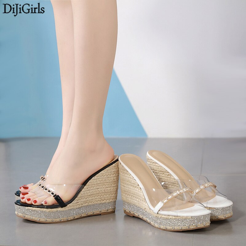 Chaussure Transparente Femme Summer Wedges Sandals For Women Platform Heels Ladies Rhinestone Sandals Woman Slippers